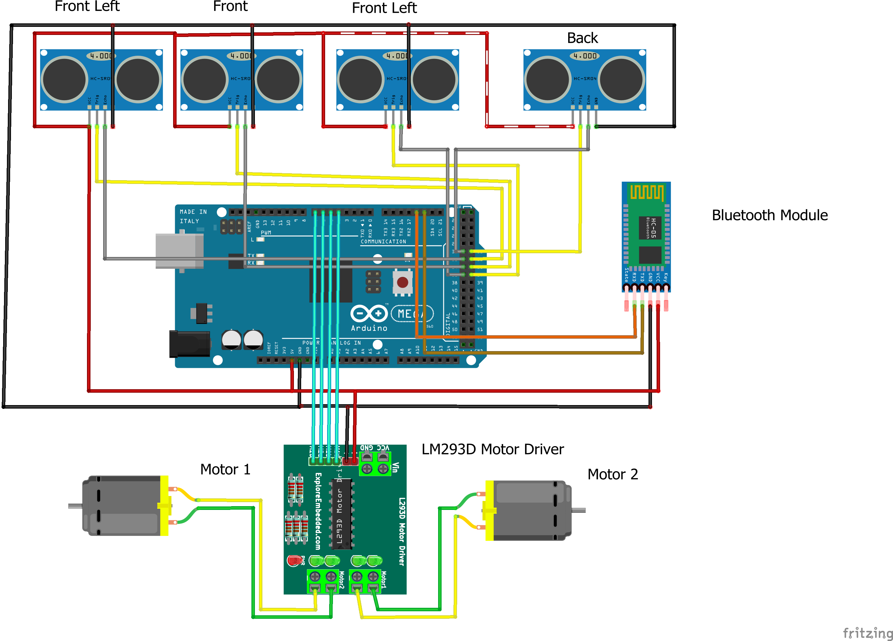 number 4,5,6,7 of arduino mega respectively and vcc ang gnd of the  motor driver to vcc and ground of the arduino mega as connected in the  diagram below